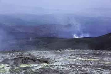 View from North-East crater into Valle del Bove where the active fissure vent that opened on May 13, 2008, can be seen steaming (Photo: Tom Pfeiffer)