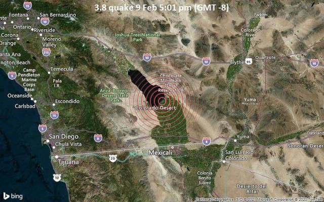 3.8 quake 9 Feb 5:01 pm (GMT -8)